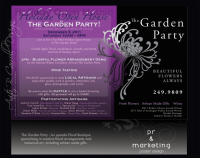 poster, business card, print, Web design, UX UI, Photography, Digital Image manipulation, The Garden Party, Milford, New Hampshire, Anita B. Carroll, Race-Point.com