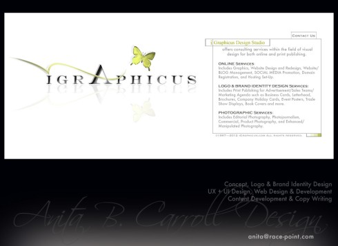 Web design, UX UI, Photography, Digital Image manipulation, iGraphicus.com, Anita B. Carroll, Race-Point.com