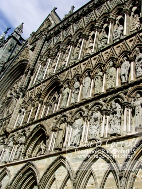 S C U L P T - West Front Side Sculptures of Kings, Archangels, Bishops, Christ - Nidaros Cathedral Curch photo by: Anita B. Carroll
