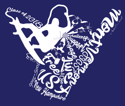 Class of 2018 T-Shirt Design for the front. Hawaiian themed.